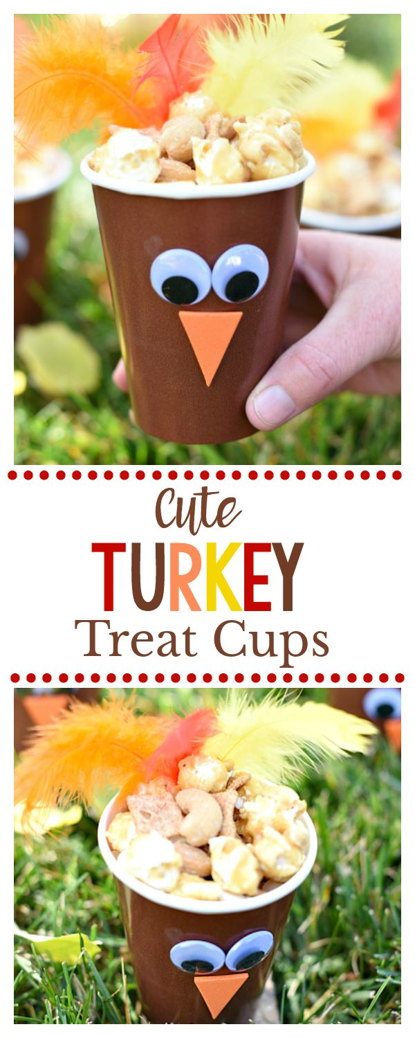 Cute Turkey Treat Cups for Thanksgiving