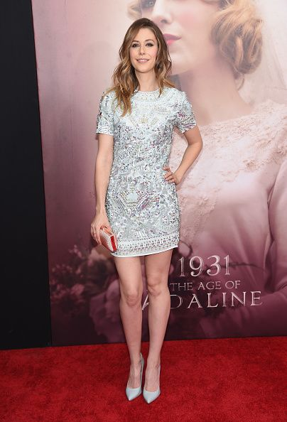 Amanda Crew wearing Pedro Garcia Aneley glossy high heel pump in porcelain gloss at the Age of Adaline New York Premiere