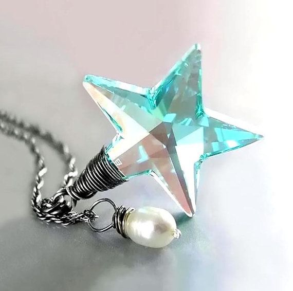 Seafoam Blue Star Necklace RARE Vintage Swarovski Teal Green Blue Crystal Star Pendant Necklace Sterling Silver