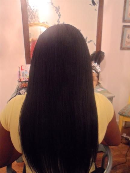 after Chinese straight hair application