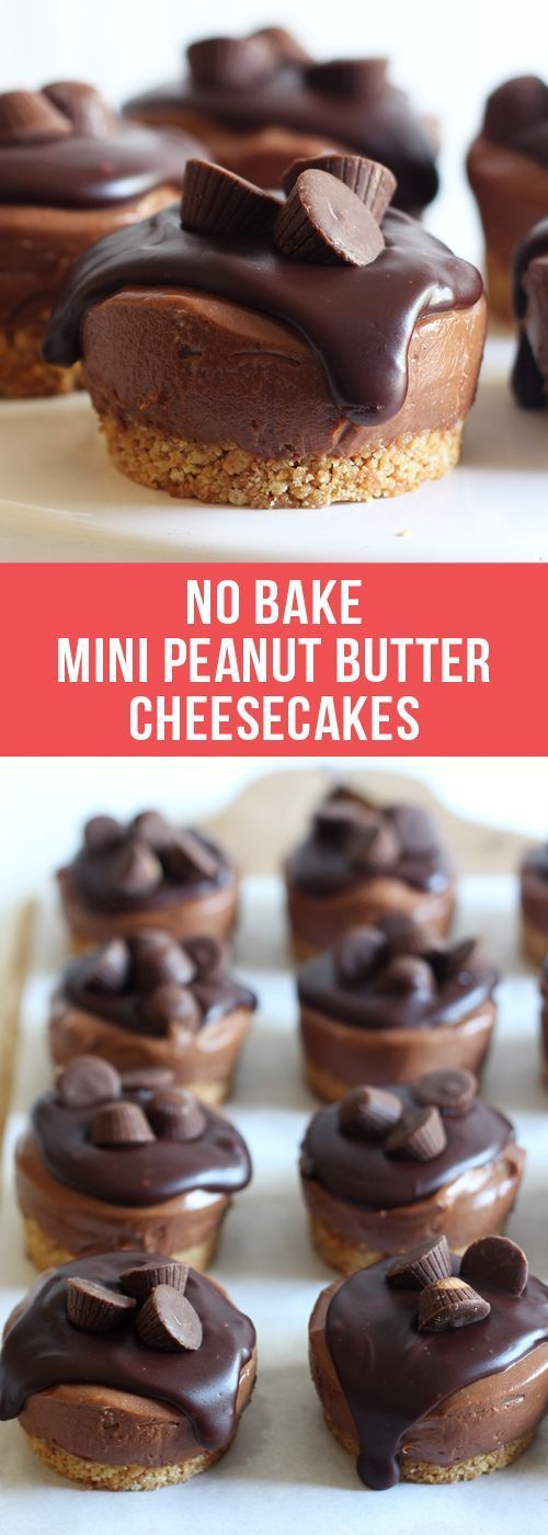 No Bake Mini Peanut Butter Cheesecakes ~ have a graham cracker crust, creamy chocolate peanut butter cheesecake filling, and are topped with chocolate ganache and mini peanut butter cups...no oven needed!