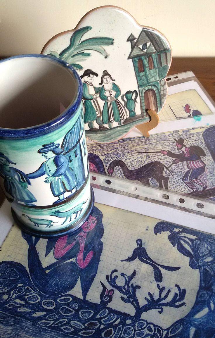Le ceramiche ispirate ai disegni di Nonno Giuseppe...