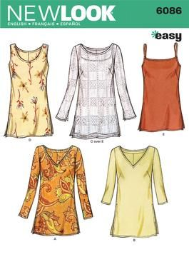 Womens Tunic Tops Sewing Pattern 6086 New Look.  Maybe a good basic top for India.