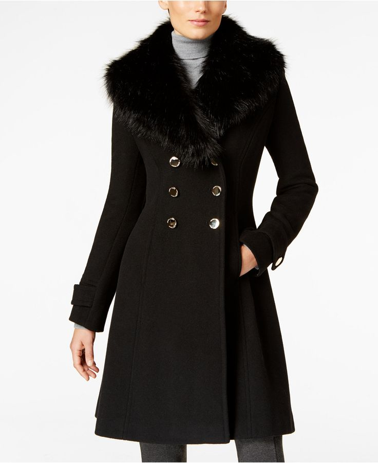 Ivanka Trump Faux-Fur-Trim A-Line Peacoat - Coats - Women - Macy's