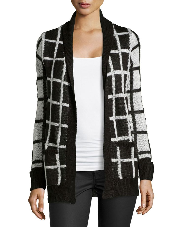Neiman Marcus has Neiman Marcus Knit Geometric Design Cardigan BlackWhite  SMALL on sale for $32.50 only