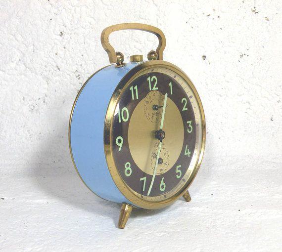 Blue German alarm clock vintage alarm clock blue by LaBonneVie72
