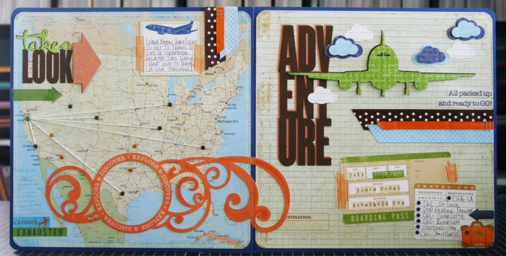 by Laura Vegas - I love the map idea for travel layouts