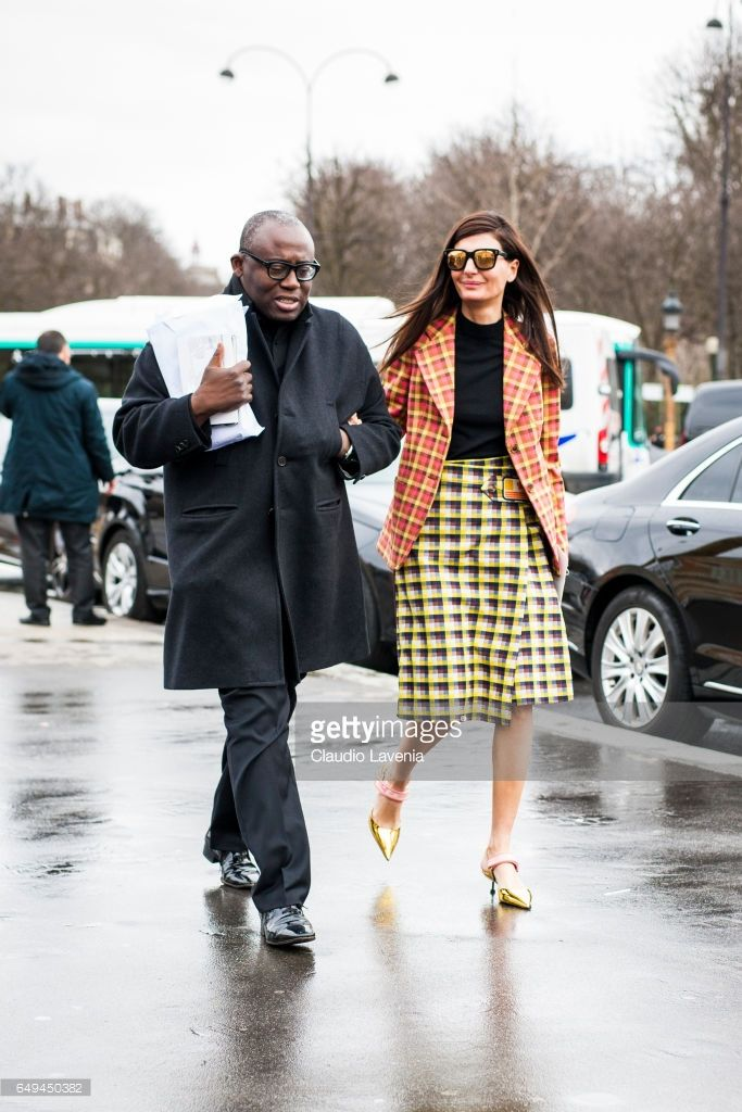 Edward Enninful and Giovanna Battaglia are seen in the streets of Paris before the Chanel show during Paris Fashion Week Womenswear Fall/Winter 2017/2018 on March 7, 2017 in Paris, France.