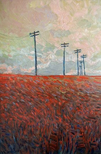 """Steve Coffey - Red Fields and Poles 30 x 20"""" oil/canvas 
