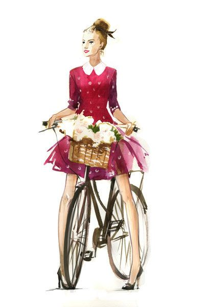 Watercolors for Lambre. Part 1. by Veronika Kalacheva, via Behance  #bicycleart  bicycle art