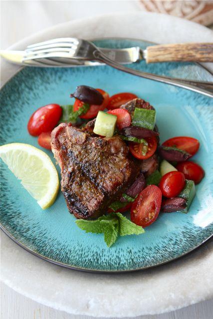 Greek Grilled Lamb Chops Recipe with Tomato, Cucumber & Kalamata Olive Salad from @Cookin' Canuck Dara Michalski