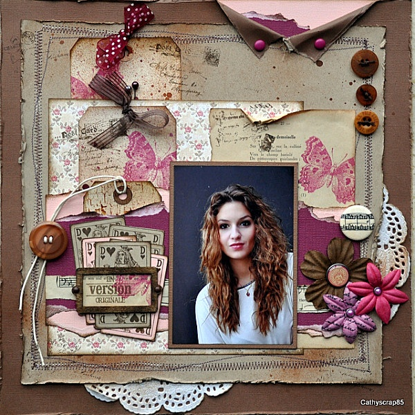scrapbook layout with neutral tones