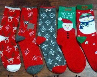Personalized christmas Socks with Custom NAME, christmas gift womens&mens crazy socks Boot Socks sneaker sport socks