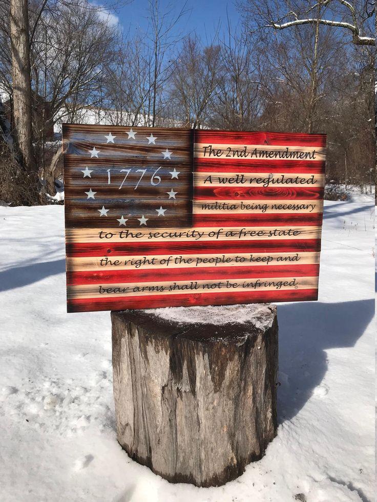 Patriotic Rustic American Flag US Flag Second Amendment Wood Flag Wood American Flag Wooden Flag Rustic Flag Rustic Decor