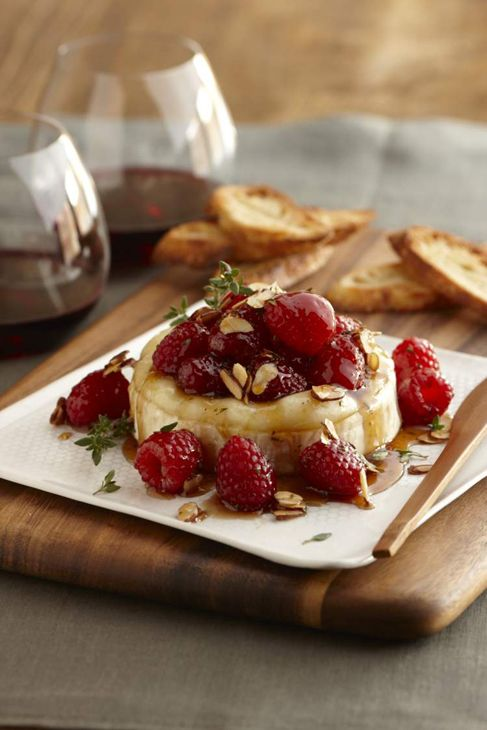 Warm Brie with Honeyed Raspberries and Almonds