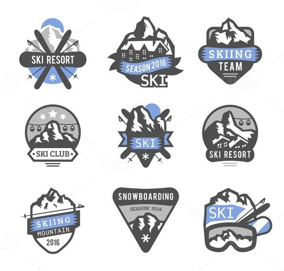 Ski resort logo emblems vector. Sport Icons. $5.00
