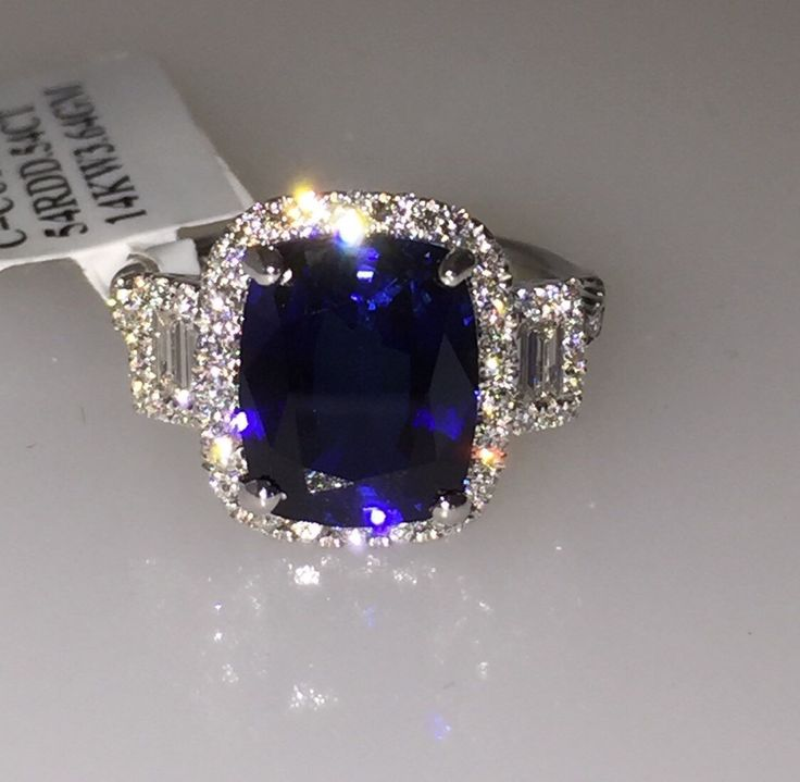 Sapphire & Genuine Diamond Engagement Ring 14kt White Gold Halo Engagement Ring 3 stone Anniversary Ring Pristine Custom Rings by PristineCustomRings on Etsy https://www.etsy.com/listing/243831455/sapphire-genuine-diamond-engagement-ring