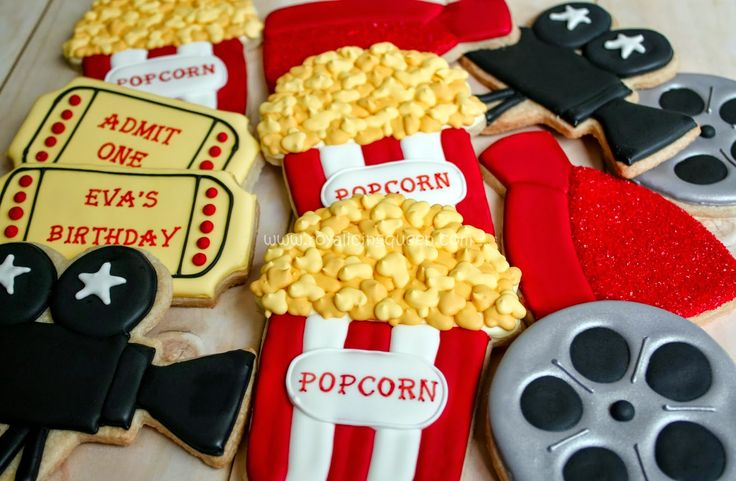 Movie Night Cookies - The Royal Icing Queen - Popcorn, Film Reels, Movie Cameras, Tickets, Evening Gowns
