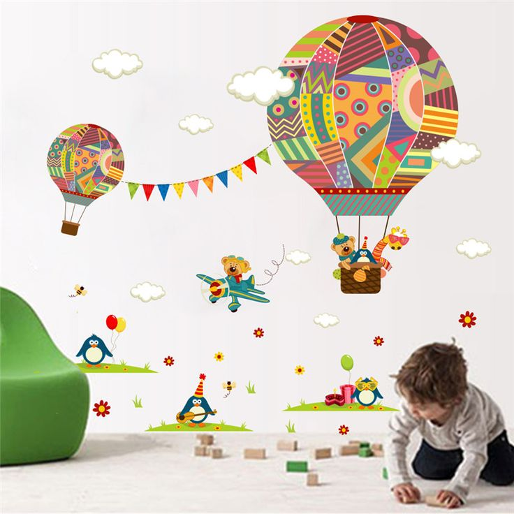 Wall Stickers with Colorful Air Balloons for Kids Room Price: 7.95 & FREE Shipping  #decomagics #homedecor #homedecorideas #homestyle