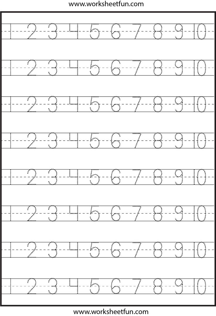 worksheet Numbers Worksheets For Kindergarten number tracing 1 10 worksheet printable worksheets pinterest and numbers