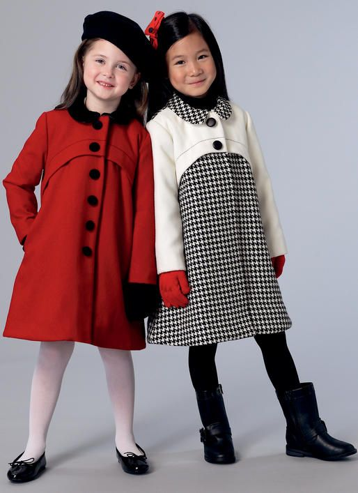 Vogue Patterns V9219 girl's coat and muff. Lined, fitted coat has shaped front yoke, snap closure with button trim and contrast and length variations. Muff