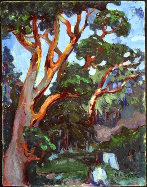 Emily Carr, Arbutus Tree, 1922. this painting is a very lively picture because of the tree with all the leafs on it while at the same time it shows the branches, and that is how it shows and qualifies as a nature style.