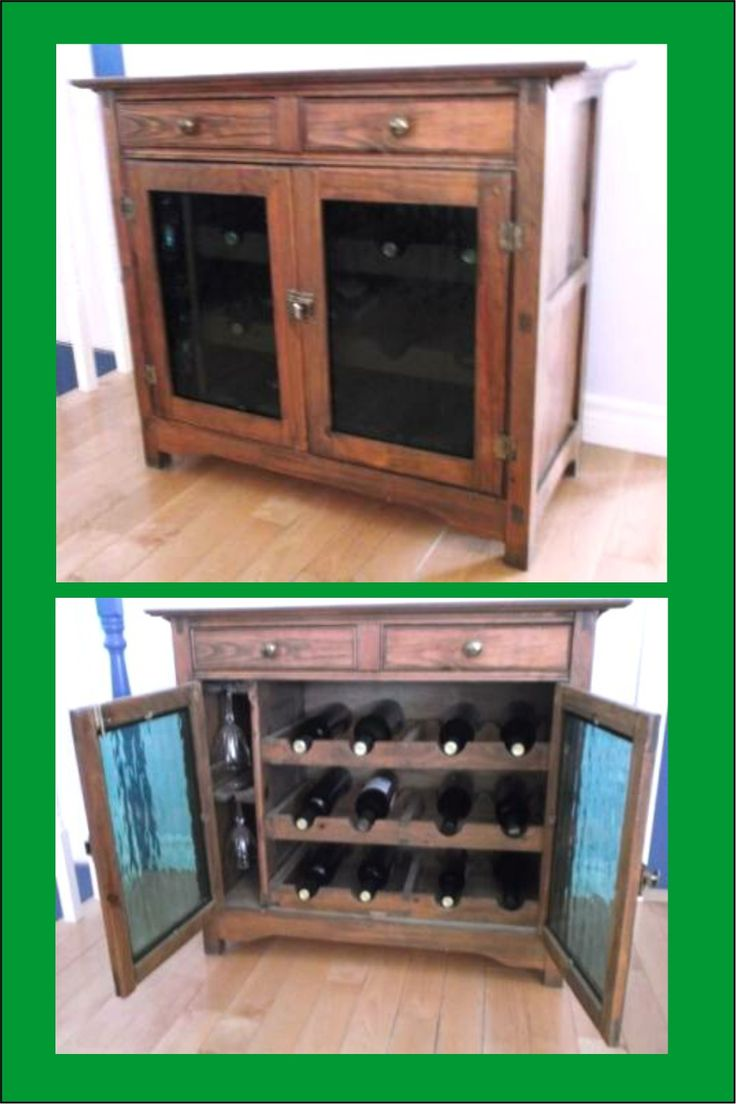 Mission style wine cabinet with art glass doors - in pine.