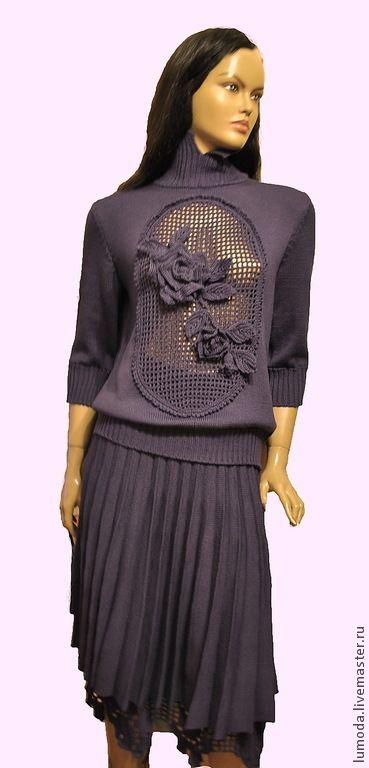 Костюм вязаный - фиолетовый,однотонный,Костюм вязаный,костюм женский