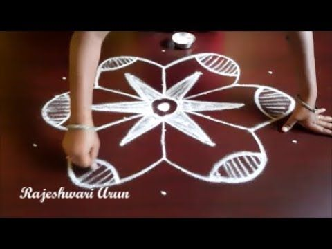 latest and simple rangoli designs with dots || big kolam for beginners || easy muggulu with dots - YouTube