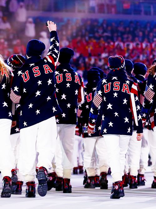 Team USA during the Opening Ceremonies at the 2014 Winter Olympics in Sochi, Russia