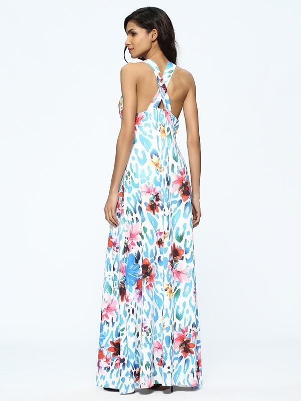 e21bc323e44 Floral Print Sleeveless Deep V Neck Bohemia Maxi Dress in 2019 ...