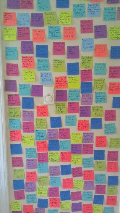 Love this example of practising gratitude: The Thankful Wall. My roommate and I took a tip from Positive Psychology and started writing three stickies a day for things we are thankful for.