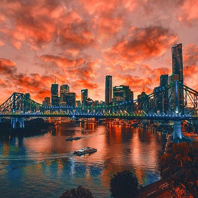 Silver Bridges and Sunburnt skies  Another breathtaking shot of the #StoryBridge in beautiful #Brisbane ! The great warm weather with stunning sunsets has led to some amazing photos this month!  @reubennutt  #ThisIsBrisbane #Sunset #Sky