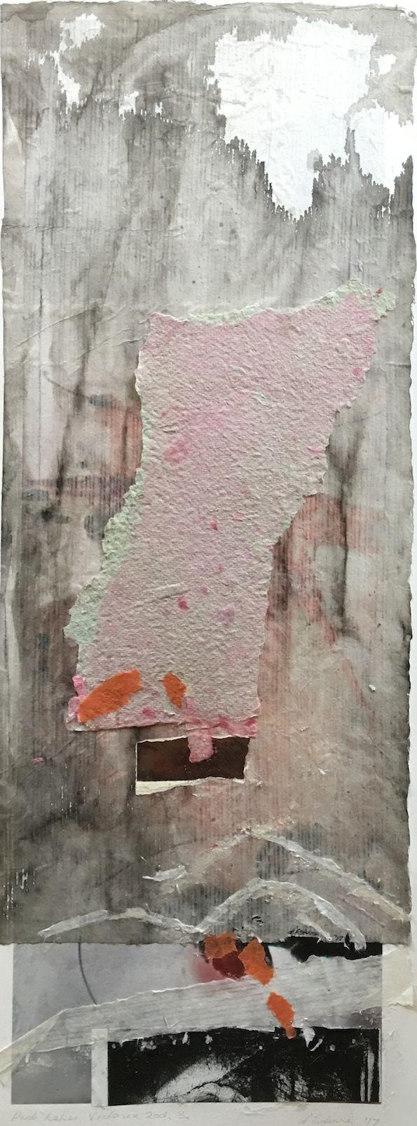 Elaine d'Esterre - The Pink Lakes, Vic., 2003, 3, 2017, indian ink wash, hand made paper, rice paper & intaglio, 75x30 cm. Visit my ART BLOG at http://elainedesterreart.com/ and http://www.facebook.com/elainedesterreart/ and http://instagram.com/desterreart/