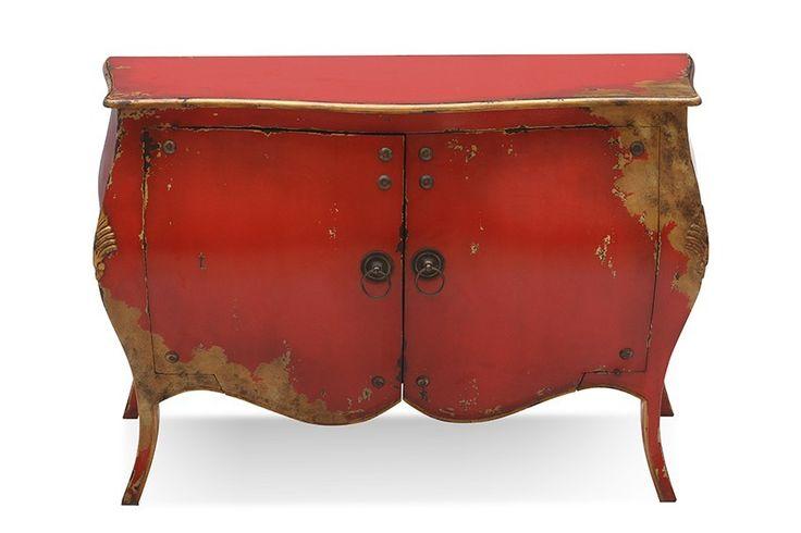 Kommode Rococo - Mahagoni massiv - rot lackiert - antikfinish