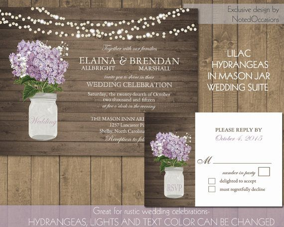 Rustic Wedding Invitation Printable Mason Jar Invitations Country Lilac Lavender Hydrangea Floral Digital Template