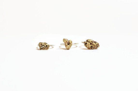 Organic gold nugget ring minimal stacking ring silver by MyElesi