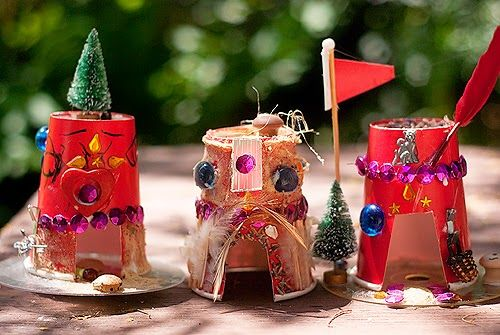 Recycled Paper Cup Fairy Houses