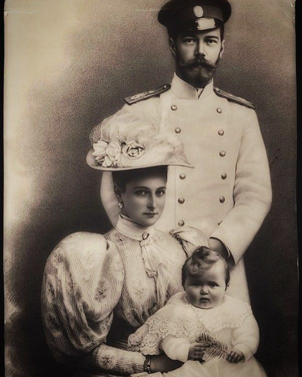 Nicholas and Alexandra with their eldest child, Olga, 1896.