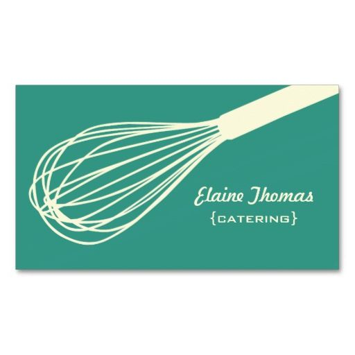 203 best catering business cards images on pinterest catering wire whisk catering card teal reheart Images