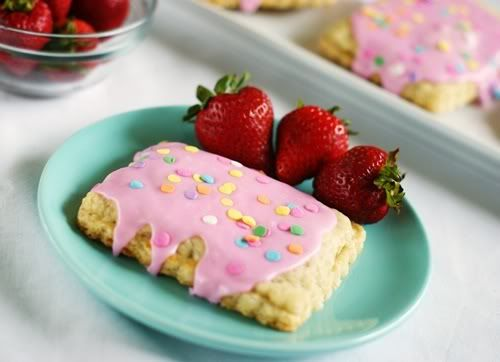 Homemade Strawberry Pop Tarts - use strawberries to make the icing pink instead of food coloring
