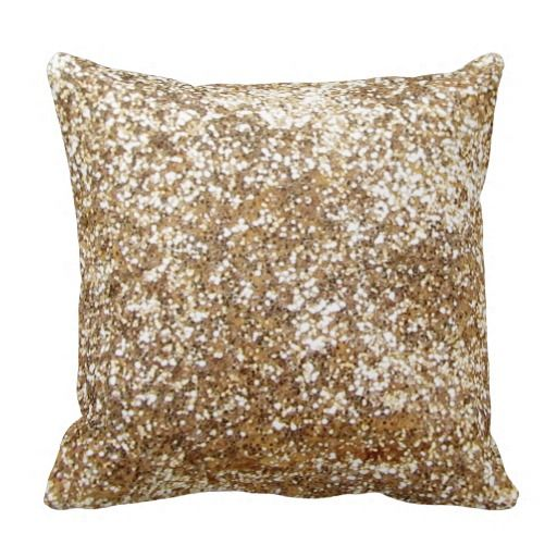 Gold, Bling-Diamond-Glitter-Shine Throw Pillows