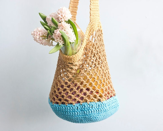 Gold  and Blue Cotton Market Bag Tote Bag  Hand by beadedwire, $26.00