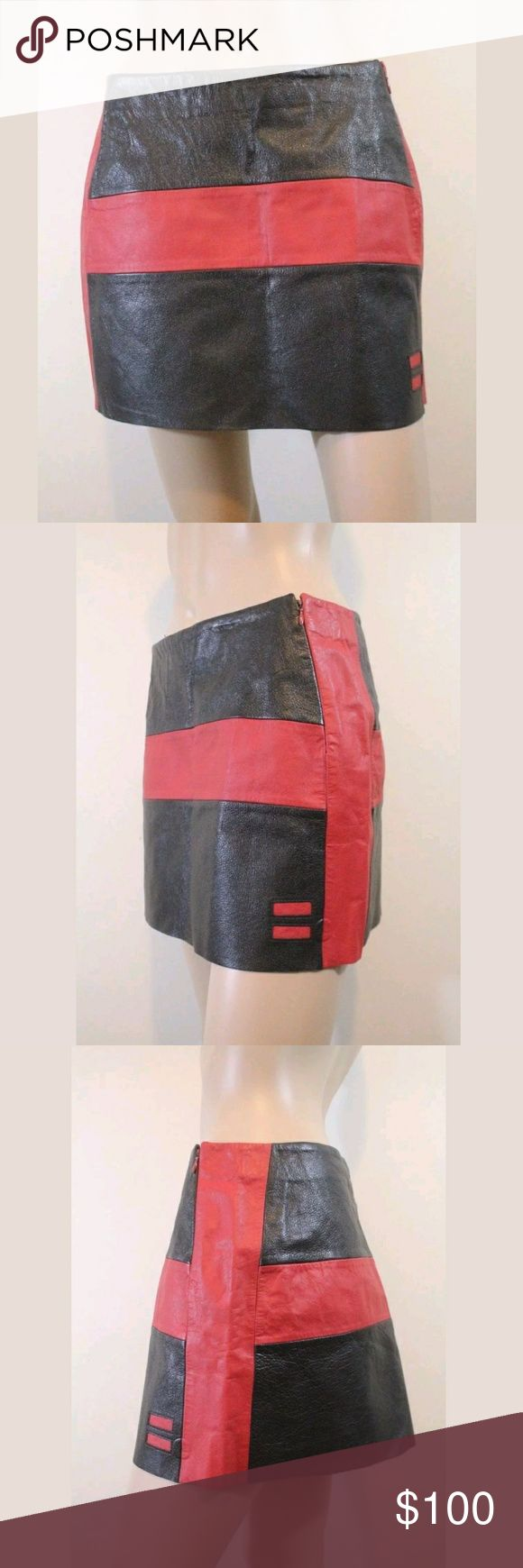 Diesel Leather Colorblock Cross Mini Skirt S Condition   - Minimal wear, indent from store tag  - Excellent condition! SUPER RARE!   Details   - Side zip with hook and eye closure    Measurements   Bust: -    Waist: 14 inches across (28 around)   Hip: 19 inches across (38 around)    Length: 13 1/2 inches long   Sleeve length: -    Size   Marked L, will fit S best, see measurements    Materials   100% leather Diesel Skirts Mini