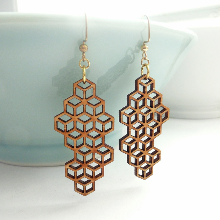 Medium Honeycomb Earrings Laser Laser Cut Jewelry