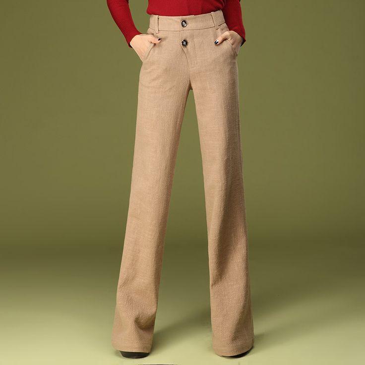 Лето осень мода формальные женские высокой талией широкую ногу льняные брюки, Женский дамы элегантные широкий 4XL 3xl падения брюкикупить в магазине Jeanie Deng's storeнаAliExpress