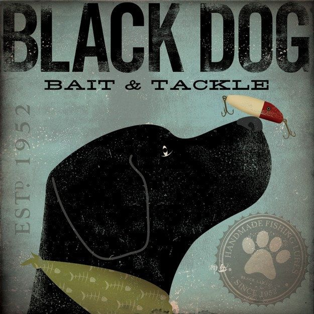 Black Dog Bait and Tackle company original illustration graphic art giclee archival 12 x 12 print by stephen fowler, via Etsy.