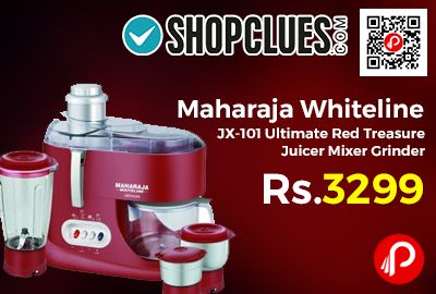 Shopclues is offering 42% off discount on Maharaja Whiteline JX-101 Ultimate Red Treasure Juicer Mixer Grinder at Rs.2689 Only. this Juicer Mixer Grinder is the perfect appliance, 550W heavy duty motor of the juicer mixer grinder ensures excellent pulverization and juice extraction. 12 Months Manufacturer Warranty.  http://www.paisebachaoindia.com/maharaja-whiteline-jx-101-ultimate-red-treasure-juicer-mixer-grinder-at-rs-2689-only-shopclues/