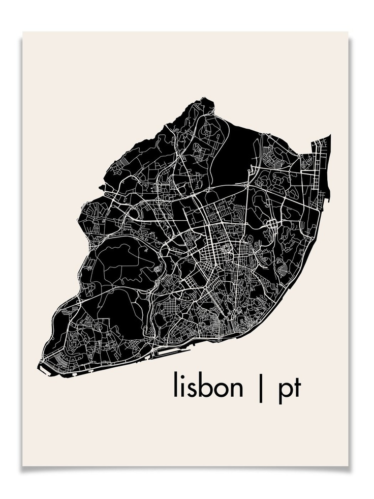 Lisbon Map Art City Print, 18 x 24 $28 - this style could look nice for my final