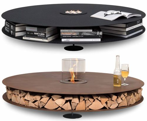 Zerino A super-low coffee table in which the center cutout can hold a plant, candles, or a bioethanol burner. You can store a multitude of items between the two layers to keep the surface clear so you can enjoy the fire.